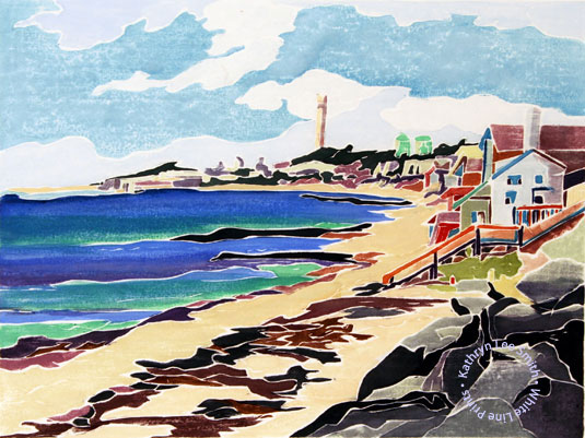 Kathryn Lee Smith, white-line woodblock Provincetown print artist, Harbour, East End