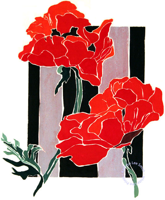 Kathryn Lee Smith, white-line woodblock Provincetown print artist, Poppies and Fence
