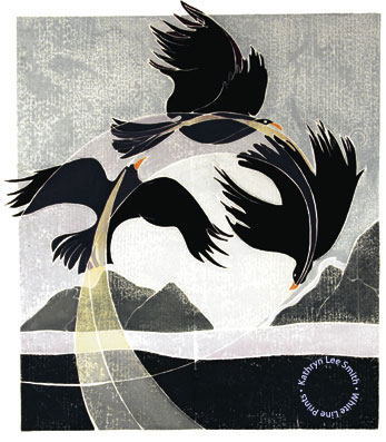 "Kathryn Lee Smith - white line print ""Spirit Dance"""